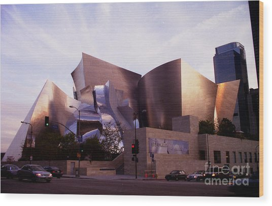 Disney Hall Western View Wood Print by Ron Javorsky