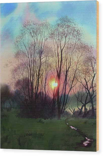 Distant Sunset Wood Print