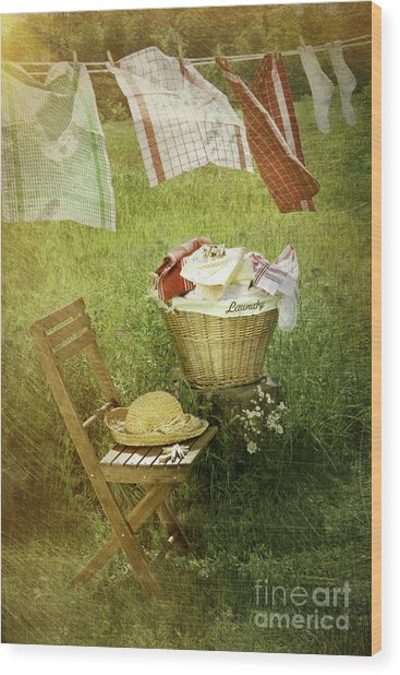 Distressed Photo Of Wash Day  Wood Print