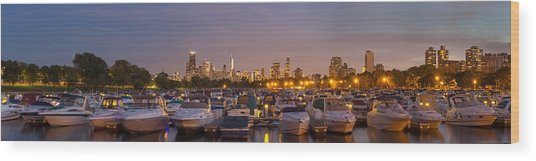 Diversey Harbor And Chicago Skyline Wood Print