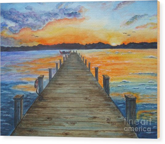 Dock Of The Bay Wood Print by Bonnie Schallermeir