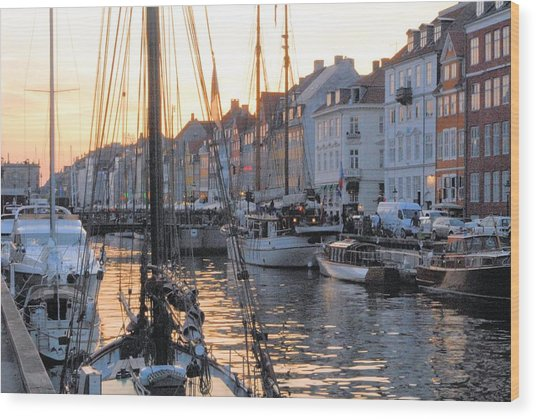 Docked For Dinner Wood Print by