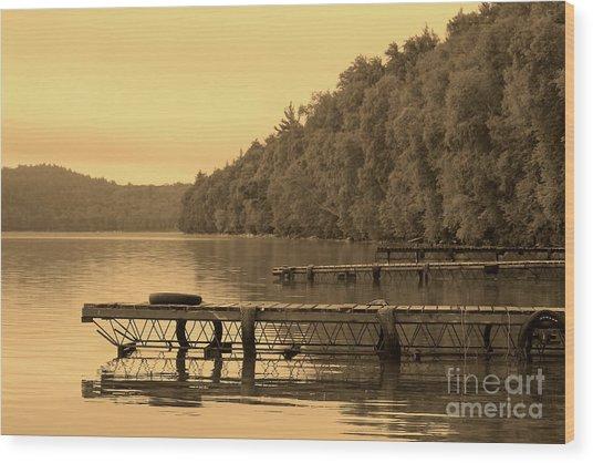 Docks In Sepia Wakomata Lake Wood Print by Marjorie Imbeau