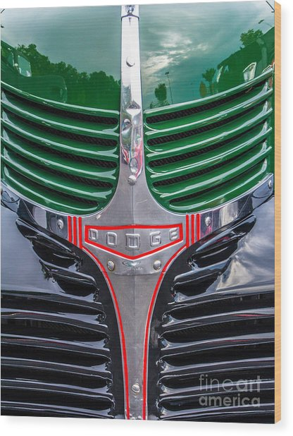 Dodge Grill Wood Print by Ursula Lawrence
