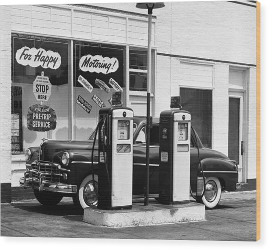 Dodge In Service Station Wood Print by George Marks