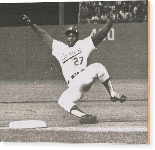 Dodger Willie Crawford Sliding Into Third Wood Print