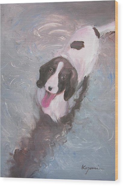Dog In River Wood Print