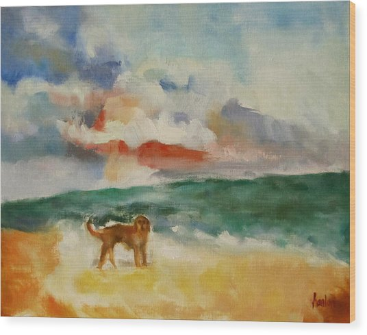 Dog On The Beach Wood Print by Susan Hanlon