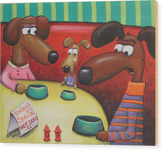 Doggie Diner Wood Print by Jennifer Alvarez