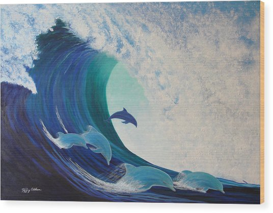 Dolphin Wave Wood Print by Jeffrey Oldham