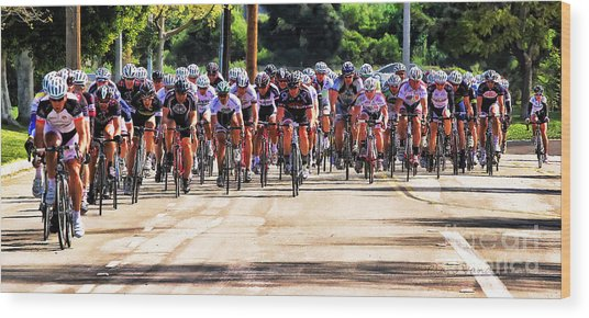 Dominguez Hill Cycle Race Wood Print by Clare VanderVeen