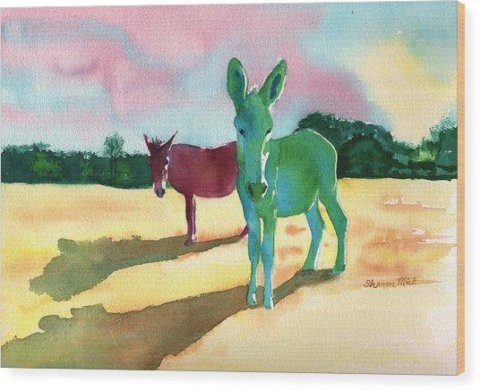 Donkeys With An Attitude Wood Print