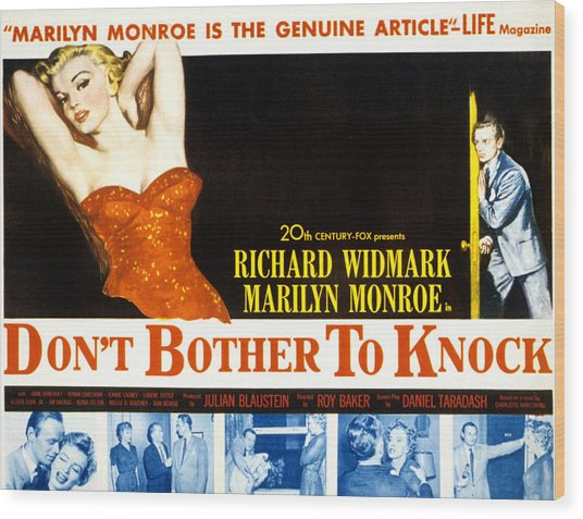Dont Bother To Knock, Marilyn Monroe Wood Print by Everett
