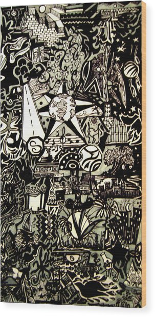 Doodles Black And White Wood Print by MikAn 'sArt