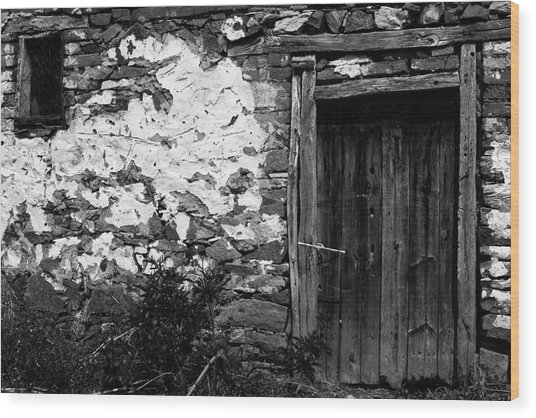Door  Window And The Wall  Wood Print