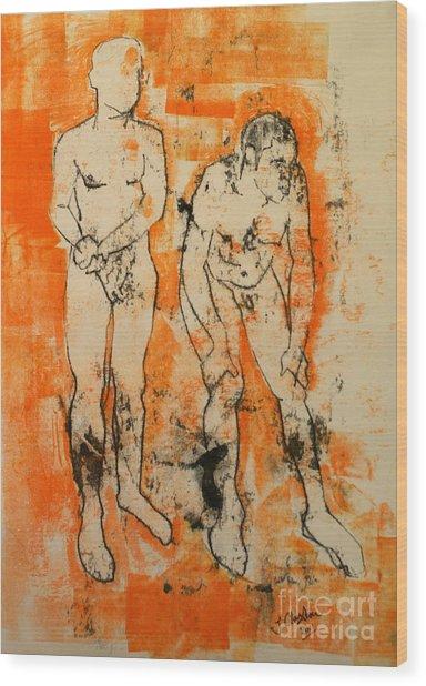 Double Male Nude Wood Print