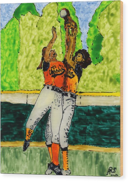Double Play Wood Print by Phil Strang