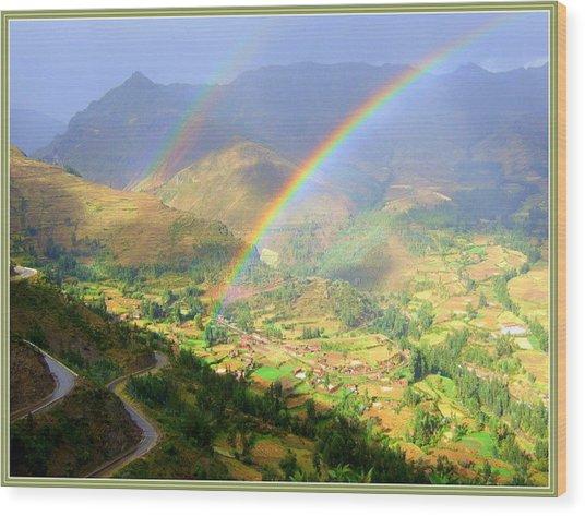 Double Rainbow Wood Print by Satya Winkelman