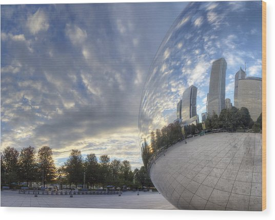 Downtown Chicago At Dawn Wood Print by Twenty Two North Photography