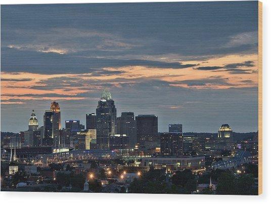 Downtown Cincinnati Wood Print by Tina Karle
