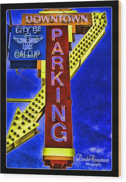 Downtown Parking Wood Print