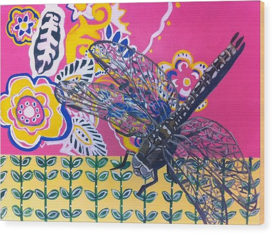Dragonfly Wood Print by Amy Reisland-Speer