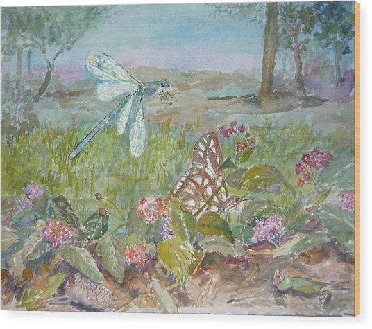 Dragonfly Wood Print by Dorothy Herron