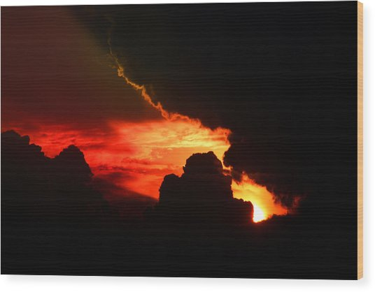 Dramatic Sunset II Wood Print by Emanuel Tanjala
