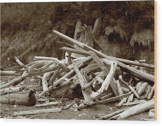 Driftwood Pile San Juan Wood Print