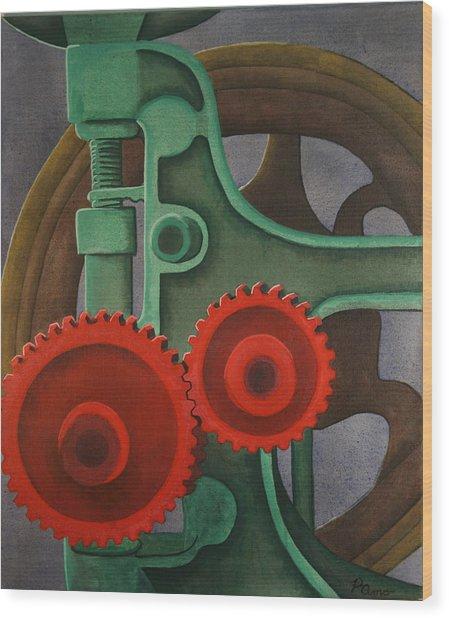 Drill Gears Wood Print