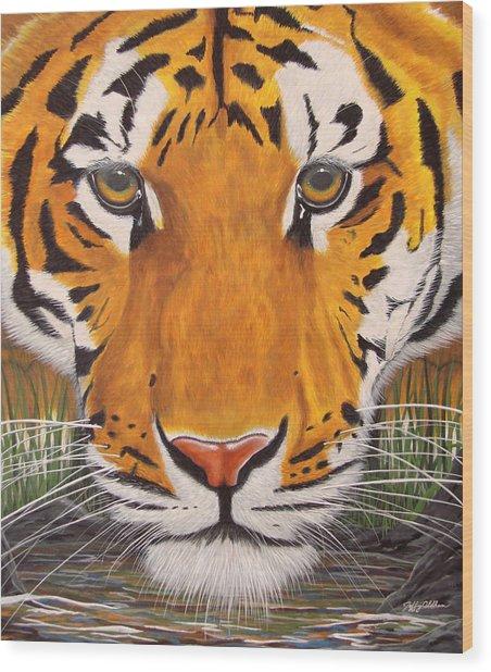 Drinking Tiger Wood Print by Jeffrey Oldham