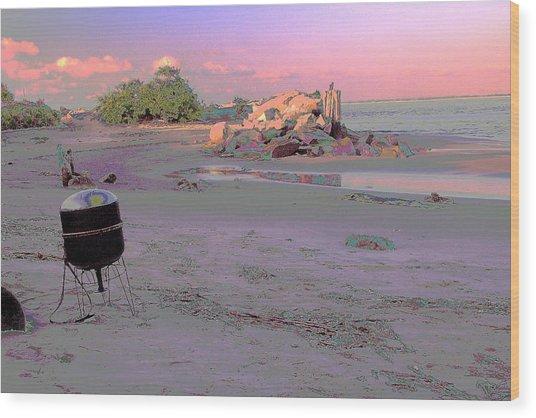 Drum On Beach Wood Print