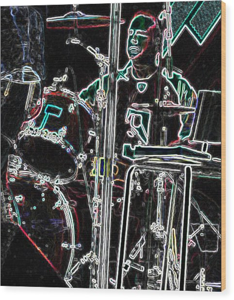 Drummer Wood Print by David Alvarez