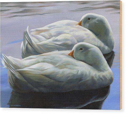 Duck Nap Wood Print