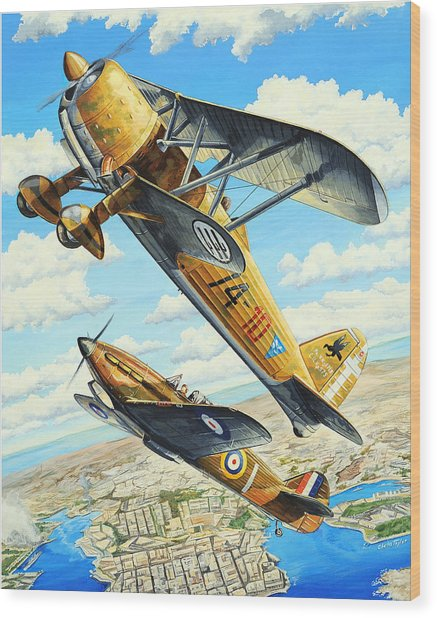 Duel Over Malta Wood Print by Charles Taylor