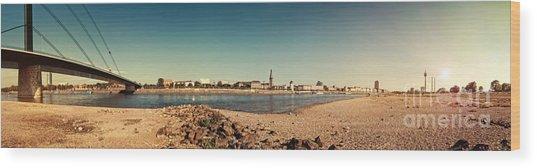 Duesseldorf Rhine Panorama Wood Print by Frank Waechter