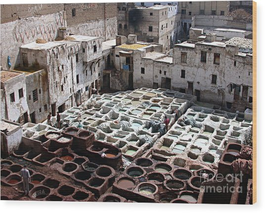 Dyeing Vats Of Fez Wood Print by Steve Goldstrom