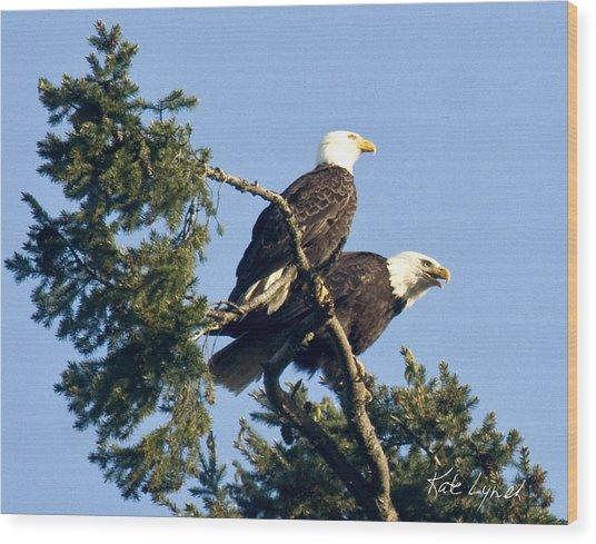 Eagle Conversation Wood Print
