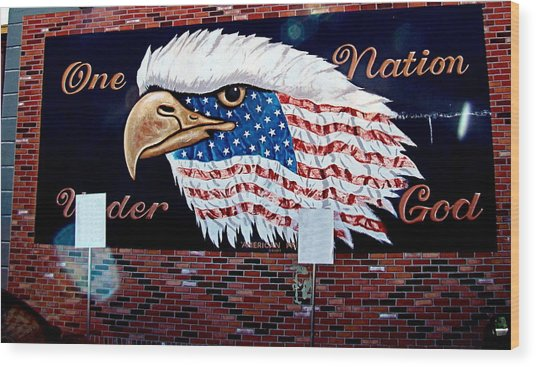 Eagle Mural Wood Print by Nick Kloepping