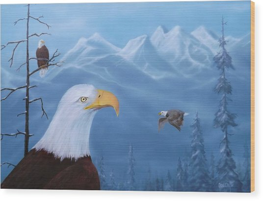 Eagles In The Tetons Wood Print