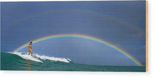 Ealy Morning Rainbow Surf Wood Print by Li Ansefelt Thornton