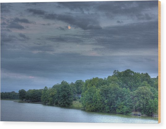 Early Moon Wood Print by Barry Jones