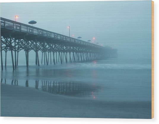 Early Morning Fog At Garden City Pier Wood Print
