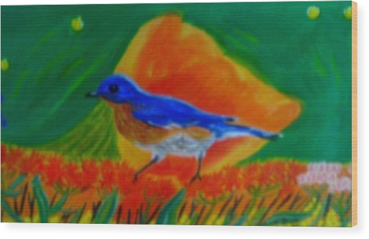 Eastern Bluebird Wood Print by Annette Stovall