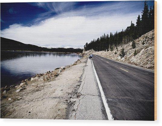 Echo Lake Road Wood Print by Sam Neumann