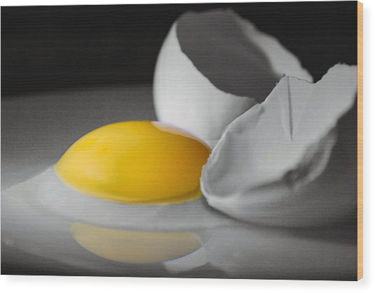 Egg And Black And White Wood Print