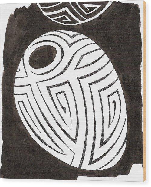 Egg Drawing 039917 Wood Print