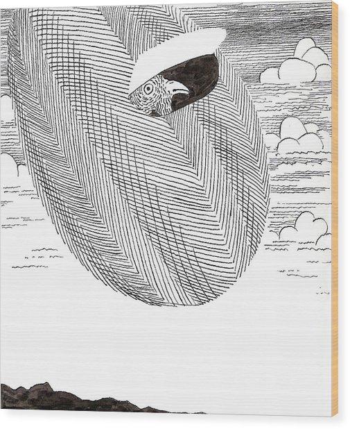 Egg Drawing 040003 Wood Print
