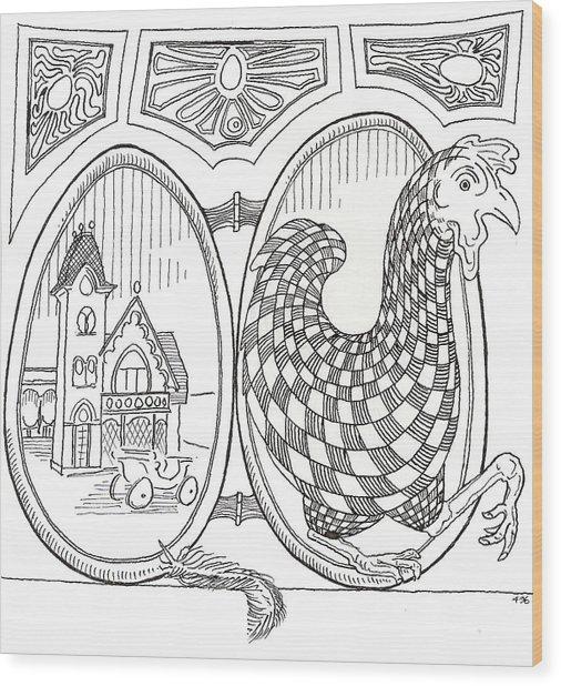 Egg Drawing 049603 Wood Print