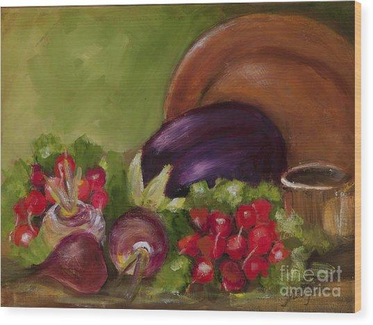 Eggplant And Radishes Wood Print